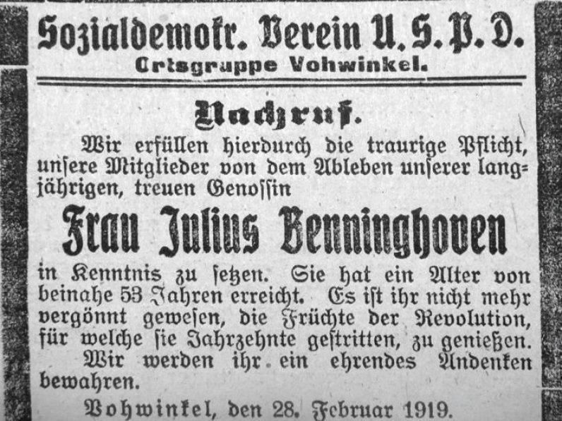 Historische Abbildung eines Nachrufes.