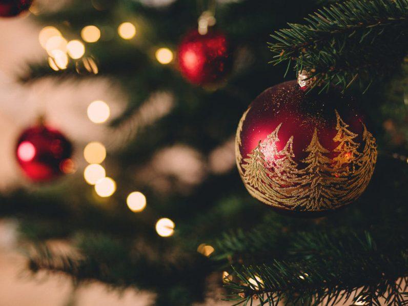 Nahaufnahme einer roten Christbaumkugel mit goldenen, aufgemalten Bäumen, die an einem Christbaum hängt.