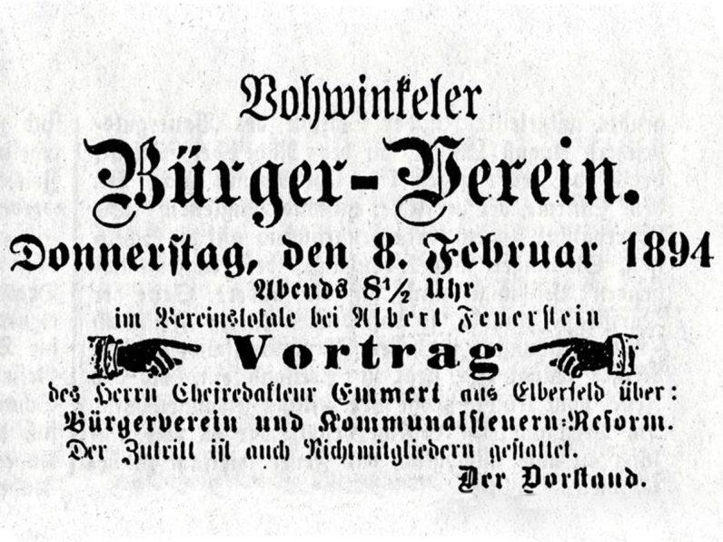 Ausschnitt aus der Dornaper Zeitung vom 6. Februar 1894. Zu sehen ist eine Anzeige zu einem Vortrag beim Vohwinkeler Bürger-Verein.