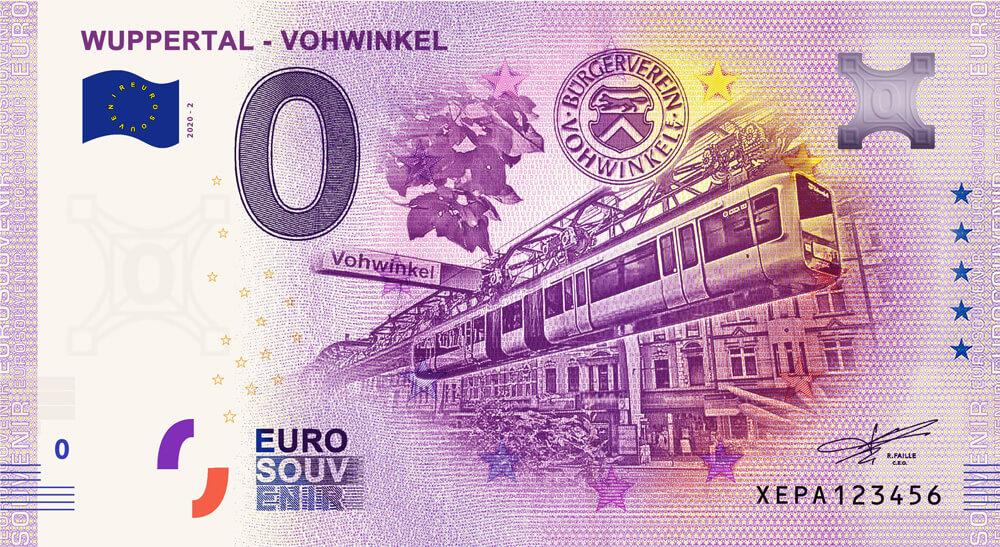 Frontansicht des 0-Euro-Scheins (Anniversary)